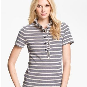 Tory Burch Lidia Ruffle Polo in Blue Stripe